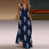 Women Summer Leaf Printed V Neck Sleeveless Maxi Dresses