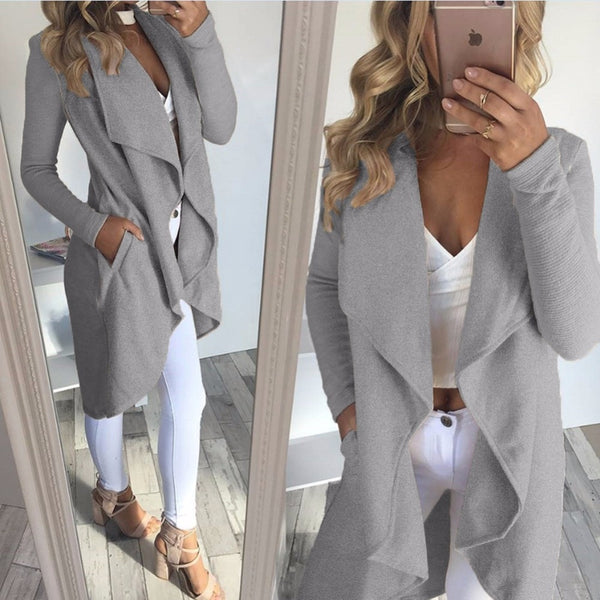 Women elegant Waterfall Cardigan Long Sleeve Coats