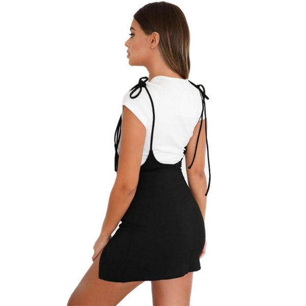Women Spaghetti Strap Split Slim Suspender Mini Dress