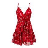 Women Elegant Red Print Sexy Strap V Neck Backless Mini Dress