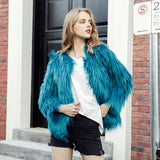 Women Sexy Long Sleeve O-Neck Solid Faux Fur Coats