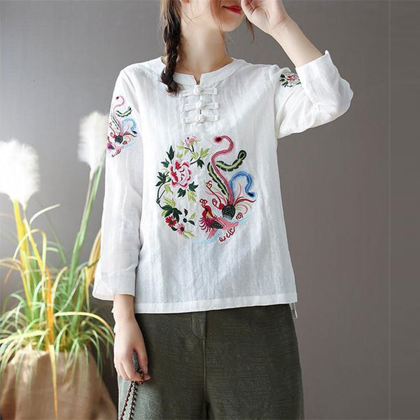 Women Long Sleeve Loose O-neck Buttons Tee Popular Blouse