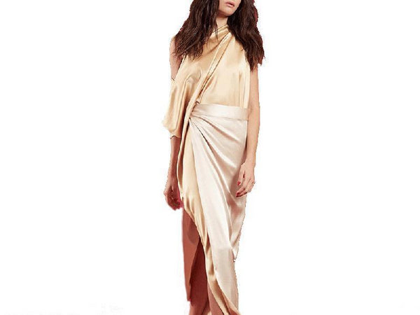 Women Pure Color New Stylish One Shoulder Chiffon Maxi Dresses
