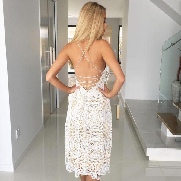 Summer Women Deep V Neck Backless Lace Sleeveless Mini Dress