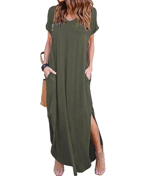Women V Neck Short Sleeve Irregular Casual Dress