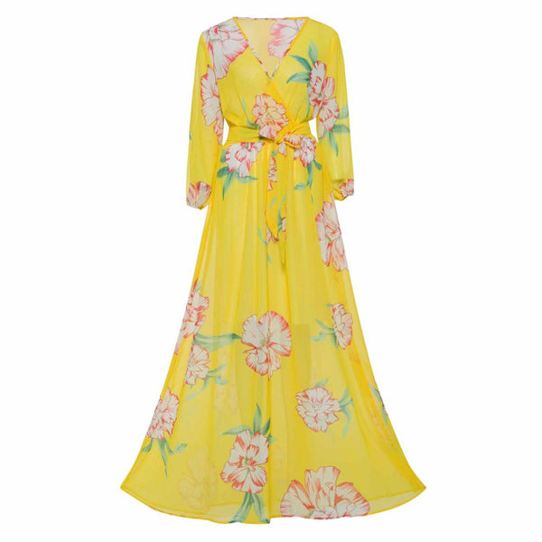 Women Swing Floral Printed Long Sleeve Sexy V-Neck Maxi Dress