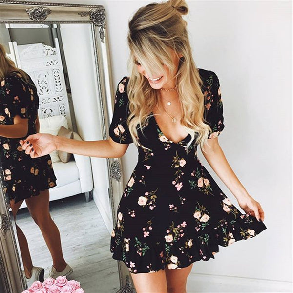 Women Floral Short Sleeve V neck Mini Dress