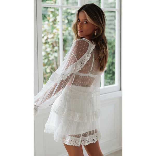 Plus Size V-Neck Leaf Lace Long Sleeve Hollow Cake Dress