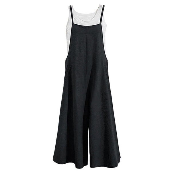 Women Cotton Pocket Long Wide Leg Overalls Casual Jumpsuits