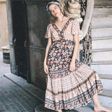 Summer Short Sleeve Vintage Floral Print Boho Chic Maxi Dress
