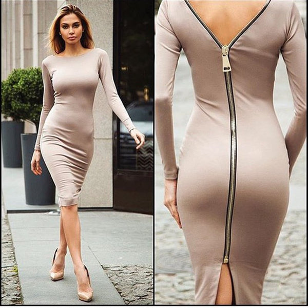 Little Black Long Sleeve Party Dresses Women Back Full Zipper Robe Sexy Femme Pencil Tight Dress