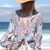 Women Summer Botanic Tropical Floral Print  V Neck  Blouses
