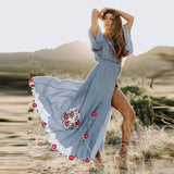 Women O-neck Solid Color Floral Embroidery Maxi Dress