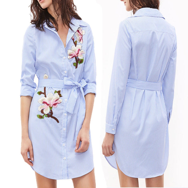 Women Print Striped Long Sleeves Embroidered Floral Shirt Mini Dress