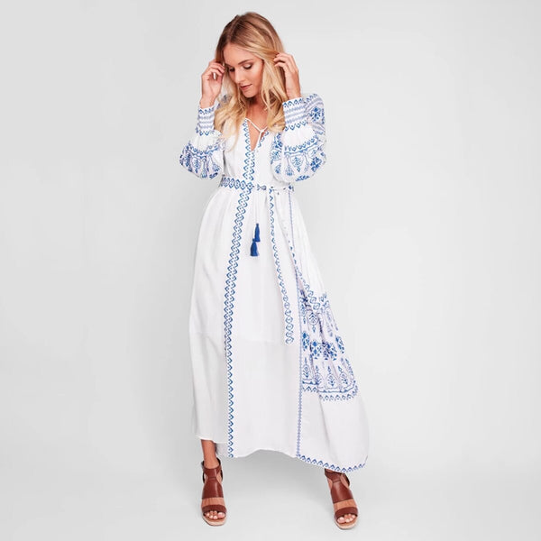 Long Sleeve Embroidery Vintage Boho Maxi Dress