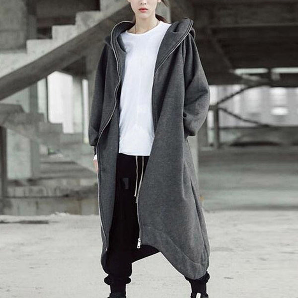 Fashion Oversize Long Hooded Jacket Autumn Women Gray Loose Hoodie Long Coats