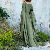 Plus Size Flare Sleeve O Neck Vintage Maxi Dress
