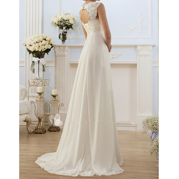 Women High Waist Sexy V Neck Backless White Wedding Dress