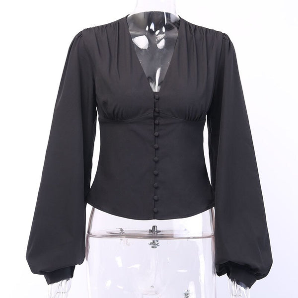 Women Puff Sleeve Deep V-Neck OL Style High Waist Button Blouses