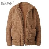 Women  Zipper Plush Thick Casual Plus Size Lamb Winter Faux Fur Coat