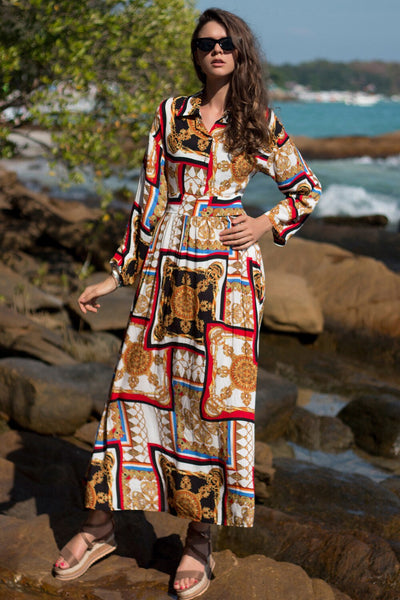 Women Single-breasted Shirt Printed Bohemia Dresses