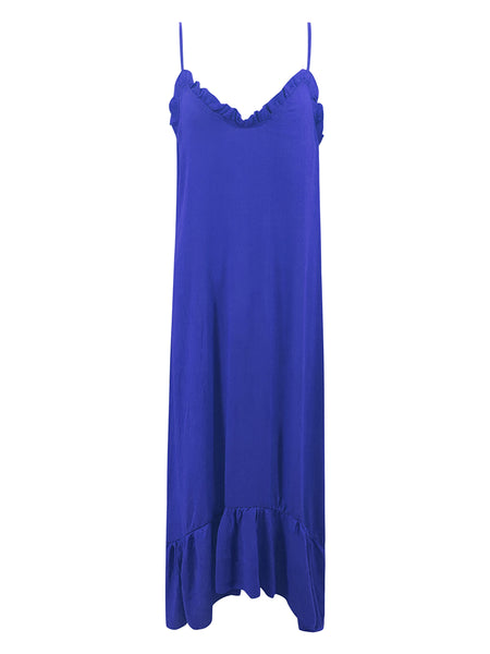 Sleeveless V-Neck Ruffle Plus Size Maxi Dress