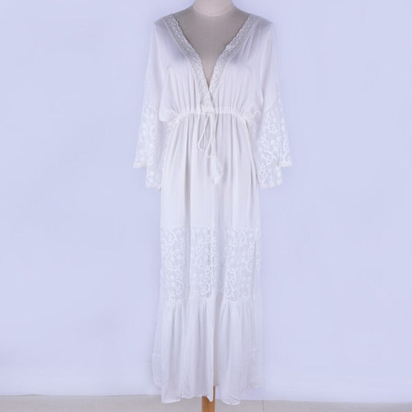 Lace Cotton Loose Beach Maxi Dress (White One Size)