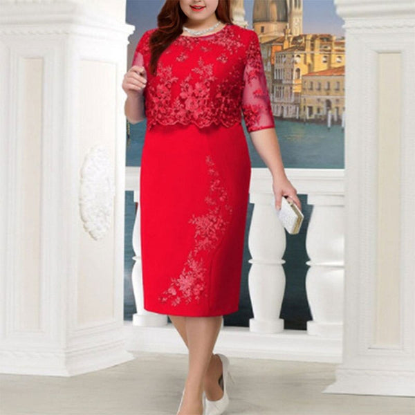 Women Lace Patchwork Half Sleeve High Waist Plus Size Bodycon Dress