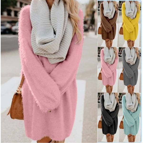 Bat Sleeve Oversized Knitted Plus Size Long Sweaters