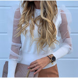 Women Mesh Puff Sleeve Fashion Elegant Blouse Tops