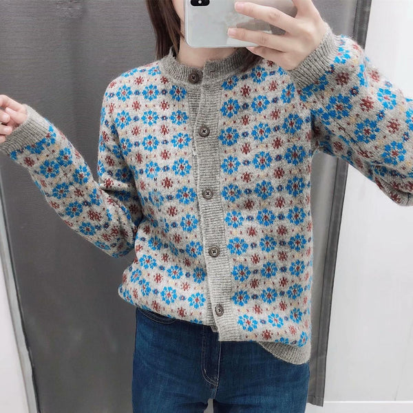 Women Floral Retro Knitted Cardigan Sweater
