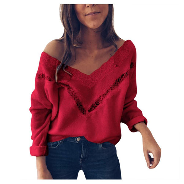Long Sleeve Hollow Out Slim Sweater Tops