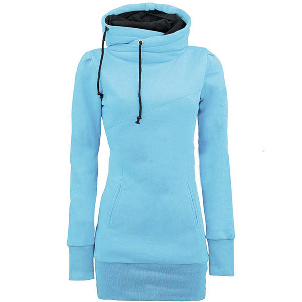 Women Solid Hooded Long Sleeve Pullover Hoodies sweatshirt