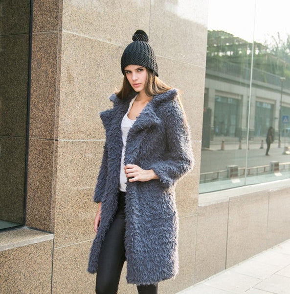 Women Winter Long Sleeve Furry Coat