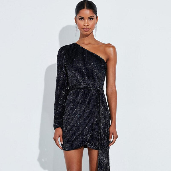 Sequined Sexy Christmas One Shoulder Mini Dress