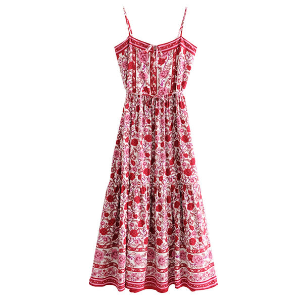 Women Floral Sleeveless Strap Sexy Boho Maxi Dress