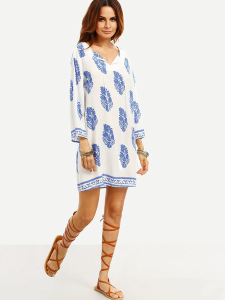 Leaf Print Tassel Tie Neck Dress