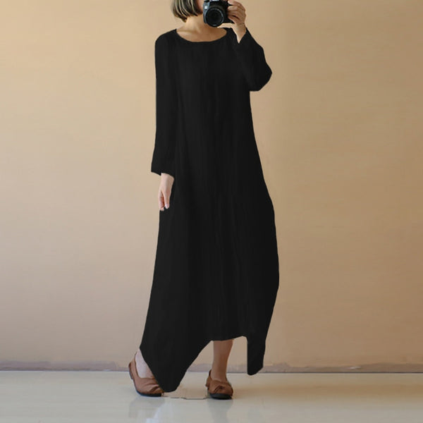 Women Retro Linen Vestido Long Sleeve Cotton Linen Casual Dress