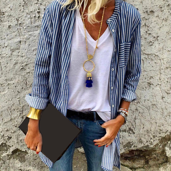 Women Long Sleeve Striped Shirt Women's Cardigans