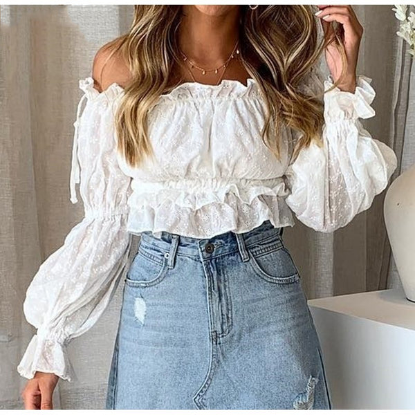 Women Sexy Off Shoulder Slash Neck Casual  Blouse