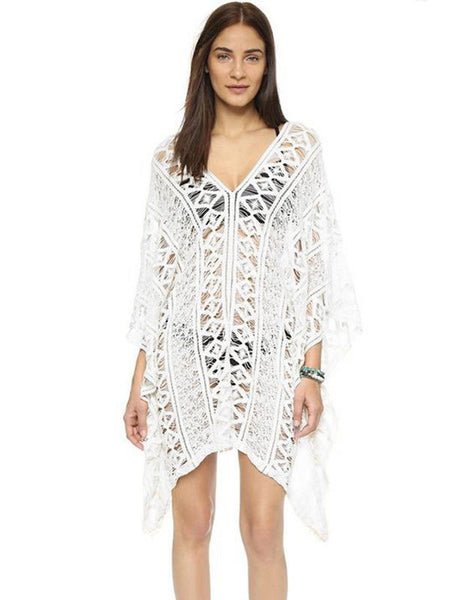 Women Summer Hollow Knit V-neck Bikini Cover-Ups