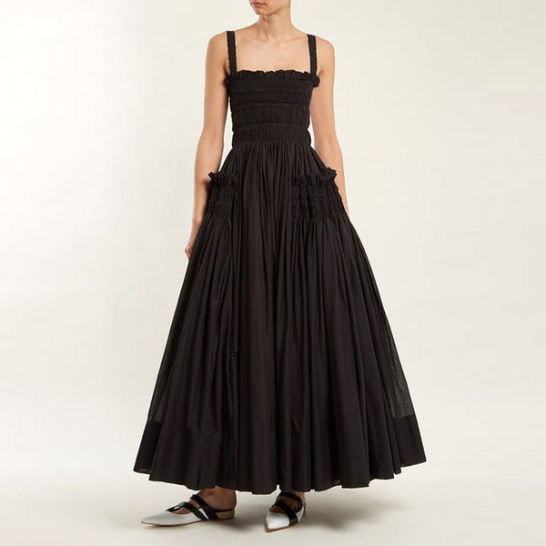New Stylish Summer Fashion Solid Color Casual Sling Backless Pleated Shrink Waist Maxi Dress