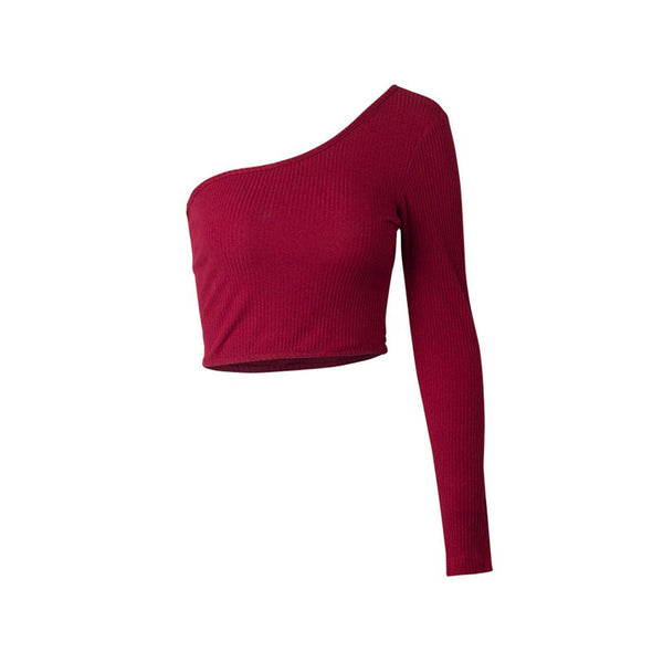 Women Sexy Slim  Long Sleeve Asymmetrical T-shirt