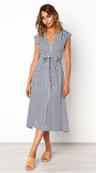 Striped Bowknot Midi Dress