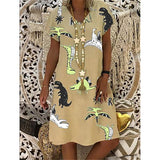 Women Casual V Neck Short Sleeve Printed Dresses