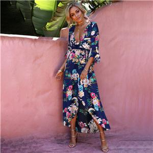 Sexy Deep V Neck 3/4 Flare Sleeve High Slit Casual Maxi Beach Dresses
