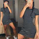 Summer Round Neck Short-sleeved Black And White Striped Dresses Sheath Slim Casual Dress