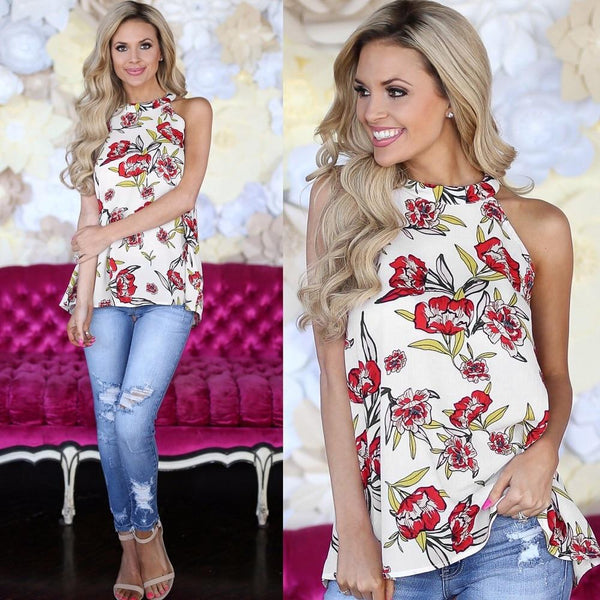 Women Summer Printed Sleeveless Loose Chiffon Blouse