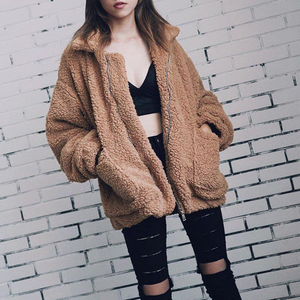 Elegant Faux Fur Coat Women