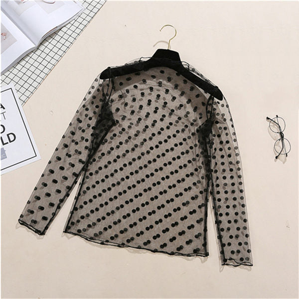 Sexy Women Lace  mesh  See-through Long Sleeve Shirt Blouse